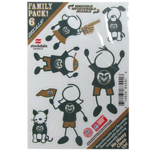 "Colorado St. Rams Family Decals - Show off your team pride with our Colorado State Rams family automotive decals. The set includes 6 individual family themed decals that each feature the team logo. The 5"" x 7"" decal set is made of outdoor rated, repositionable vinyl for durability and easy application.  Thank you for shopping with CrazedOutSports.com"