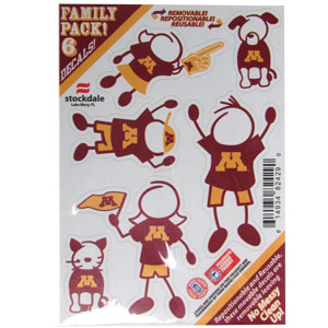 "Minnesota Golden Gophers Family Decal Set - Show off your team pride with our Minnesota Golden Gophers Family Decal Set automotive decals. The Minnesota Golden Gophers Family Decal Set includes 6 individual family themed decals that each feature the team logo. The 5"" x 7"" Minnesota Golden Gophers Family Decal Set is made of outdoor rated, repositionable vinyl for durability and easy application.  Thank you for shopping with CrazedOutSports.com"