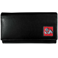 Fresno St. Bulldogs Leather Women's Wallet - This genuine leather women's pocketbook features 9 credit card slots, a windowed ID slot, spacious front pocket, inner pocket and zippered coin pocket. The front of the pocketbook has a hand painted metal square with the Fresno St. Bulldogs primary logo. Thank you for shopping with CrazedOutSports.com