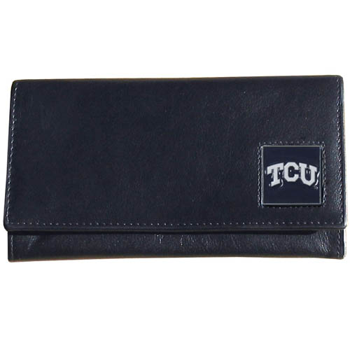 TCU Leather Women's Wallet - This genuine leather women's pocketbook features 9 credit card slots, a windowed ID slot, spacious front pocket, inner pocket and zippered coin pocket. The front of the pocketbook has a hand painted metal square with the team's primary logo.  Thank you for shopping with CrazedOutSports.com