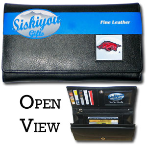 College Ladies Wallet - Arkansas Razorbacks - This genuine leather women's pocketbook features 9 credit card slots, a windowed ID slot, spacious front pocket, inner pocket and zippered coin pocket. The front of the pocketbook has a hand painted metal square with the Arkansas Razorbacks team's primary logo.  Thank you for shopping with CrazedOutSports.com