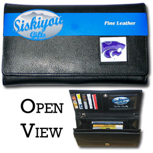 College Ladies Wallet - Kansas St Wildcats - This genuine Kansas St. Wildcats leather women's pocketbook features 9 credit card slots, a windowed ID slot, spacious front pocket, inner pocket and zippered coin pocket. The front of the pocketbook has a hand painted metal square with the team's primary logo.  Thank you for shopping with CrazedOutSports.com