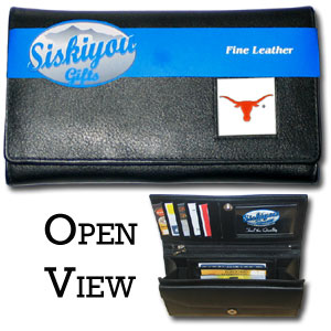 College Ladies Wallet - Texas Longhorns - This genuine leather women's pocketbook features 9 credit card slots, a windowed ID slot, spacious front pocket, inner pocket and zippered coin pocket. The front of the pocketbook has a hand painted metal square with the team's primary logo.  Thank you for shopping with CrazedOutSports.com