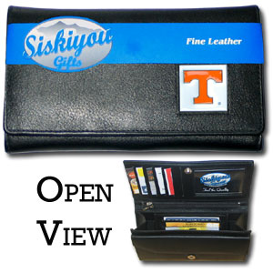 College Ladies Wallet - Tennessee Volunteers - This genuine leather women's pocketbook features 9 credit card slots, a windowed ID slot, spacious front pocket, inner pocket and zippered coin pocket. The front of the pocketbook has a hand painted metal square with the team's primary logo.  Thank you for shopping with CrazedOutSports.com