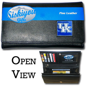 College Ladies Wallet - Kentucky Wildcats - This genuine leather women's pocketbook features 9 credit card slots, a windowed ID slot, spacious front pocket, inner pocket and zippered coin pocket. The front of the pocketbook has a hand painted metal square with the team's primary logo.  Thank you for shopping with CrazedOutSports.com