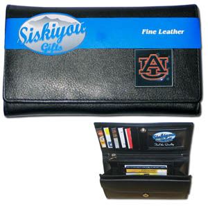 College Ladies Wallet - Auburn Tigers - This genuine leather women's pocketbook features 9 credit card slots, a windowed ID slot, spacious front pocket, inner pocket and zippered coin pocket. The front of the pocketbook has a hand painted metal square with the Auburn Tigers team's primary logo.  Thank you for shopping with CrazedOutSports.com