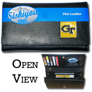 College Ladies Wallet - Georgia Tech Yellow Jackets - This genuine leather women's pocketbook features 9 credit card slots, a windowed ID slot, spacious front pocket, inner pocket and zippered coin pocket. The front of the pocketbook has a hand painted metal square with the team's primary logo.  Thank you for shopping with CrazedOutSports.com