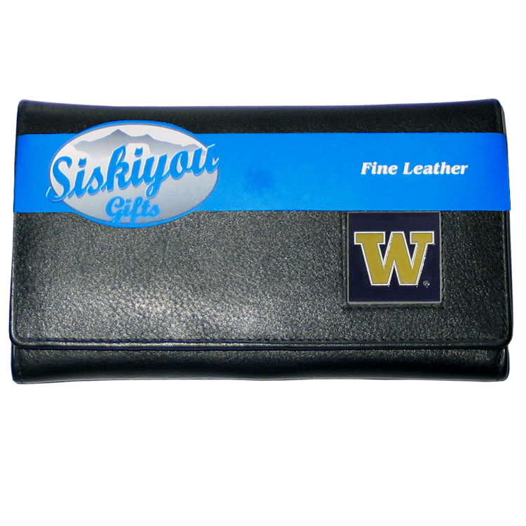 College Ladies Wallet - Washington Huskies - This genuine leather women's pocketbook features 9 credit card slots, a windowed ID slot, spacious front pocket, inner pocket and zippered coin pocket. The front of the pocketbook has a hand painted metal square with the team's primary logo.  Thank you for shopping with CrazedOutSports.com