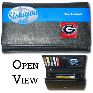 College Ladies Wallet - Georgia Bulldogs - This Georgia Bulldogs genuine leather women's pocketbook features 9 credit card slots, a windowed ID slot, spacious front pocket, inner pocket and zippered coin pocket. The front of the Georgia Bulldogs genuine leather ladies wallet has a hand painted metal square with the team's primary logo.  Thank you for shopping with CrazedOutSports.com