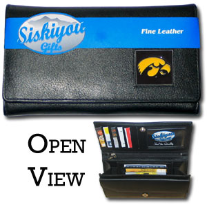 College Ladies Wallet - Iowa Hawkeyes - This genuine leather Iowa Hawkeyes women's pocketbook features 9 credit card slots, a windowed ID slot, spacious front pocket, inner pocket and zippered coin pocket. The front of the pocketbook has a hand painted metal square with the team's primary logo.  Thank you for shopping with CrazedOutSports.com