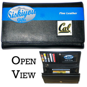 College Ladies Wallet - Cal Berkeley Bears - This genuine leather women's pocketbook features 9 credit card slots, a windowed ID slot, spacious front pocket, inner pocket and zippered coin pocket. The front of the pocketbook has a hand painted metal square with the Cal Berkeley Bears team's primary logo.  Thank you for shopping with CrazedOutSports.com