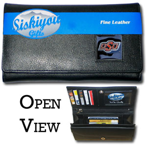 College Ladies Wallet - Oklahoma St Cowboys - This genuine leather women's pocketbook features 9 credit card slots, a windowed ID slot, spacious front pocket, inner pocket and zippered coin pocket. The front of the pocketbook has a hand painted metal square with the team's primary logo.  Thank you for shopping with CrazedOutSports.com