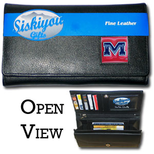College Ladies Wallet - Ole Miss Rebels - This genuine leather women's pocketbook features 9 credit card slots, a windowed ID slot, spacious front pocket, inner pocket and zippered coin pocket. The front of the pocketbook has a hand painted metal square with the team's primary logo.  Thank you for shopping with CrazedOutSports.com