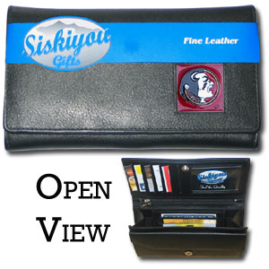 College Ladies Wallet - Florida St Seminoles - This genuine leather women's pocketbook features 9 credit card slots, a windowed ID slot, spacious front pocket, inner pocket and zippered coin pocket. The front of the pocketbook has a hand painted metal square with the Florida State Seminoles primary logo.  Thank you for shopping with CrazedOutSports.com