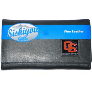 College Ladies Wallet - Oregon St Beavers - This genuine leather women's pocketbook features 9 credit card slots, a windowed ID slot, spacious front pocket, inner pocket and zippered coin pocket. The front of the pocketbook has a hand painted metal square with the team's primary logo.  Thank you for shopping with CrazedOutSports.com