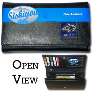 College Ladies Wallet - Montana St Bobcats - This genuine leather women's pocketbook features 9 credit card slots, a windowed ID slot, spacious front pocket, inner pocket and zippered coin pocket. The front of the pocketbook has a hand painted metal square with the team's primary logo.  Thank you for shopping with CrazedOutSports.com