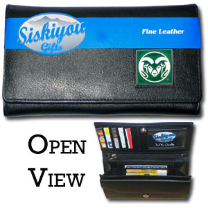 College Ladies Wallet - Colorado State Rams - This genuine leather women's pocketbook features 9 credit card slots, a windowed ID slot, spacious front pocket, inner pocket and zippered coin pocket. The front of the pocketbook has a hand painted metal square with the Colorado State Rams primary logo.  Thank you for shopping with CrazedOutSports.com