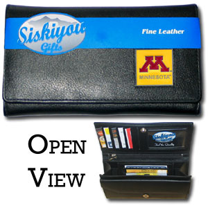 Minnesota Golden Gophers College Ladies Wallet - This genuine leather Minnesota Golden Gophers College Ladies Wallet features 9 credit card slots, a windowed ID slot, spacious front pocket, inner pocket and zippered coin pocket. The front of the Minnesota Golden Gophers College Ladies Wallet has a hand painted metal square with the team's primary logo.  Thank you for shopping with CrazedOutSports.com