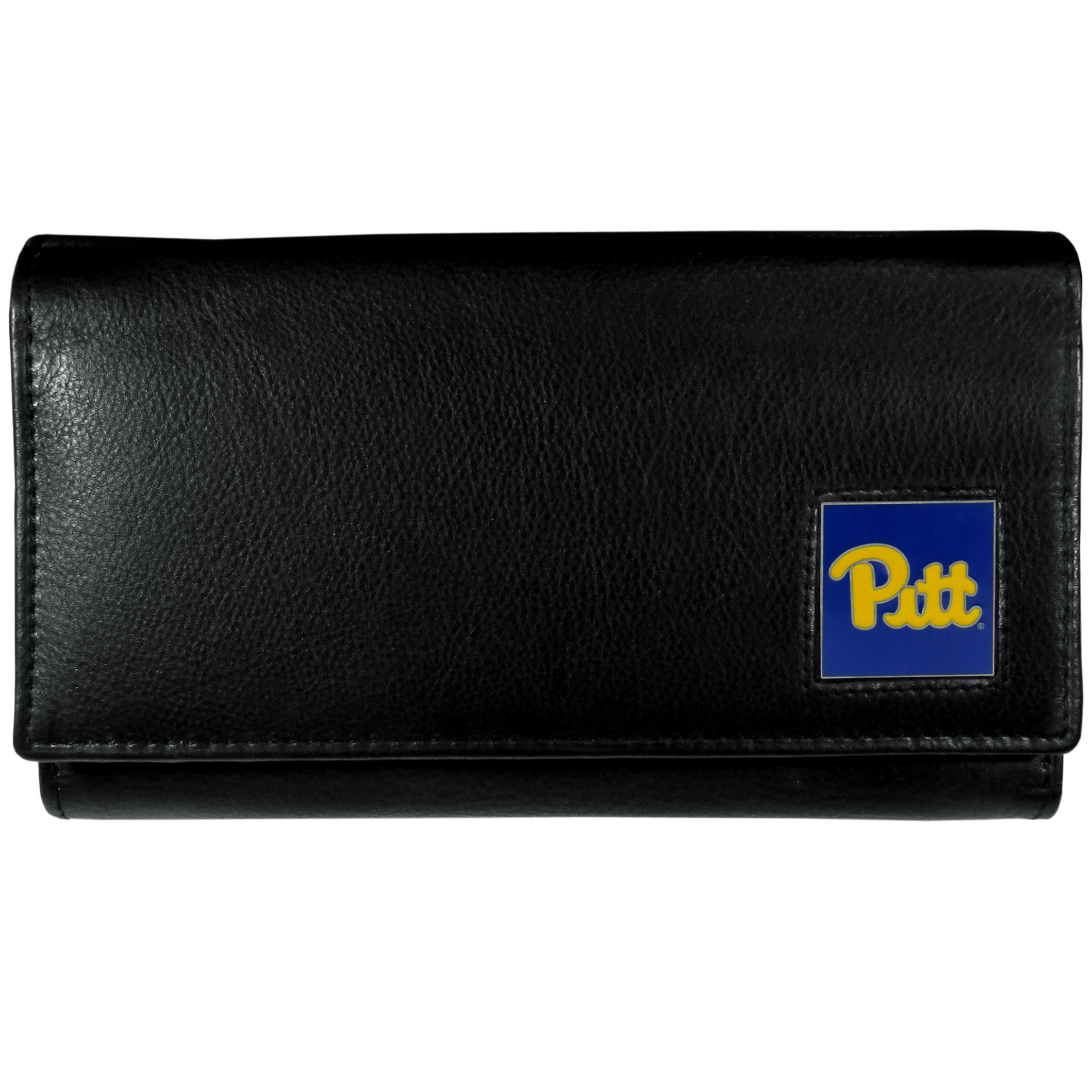 PITT Panthers Leather Women's Wallet - This genuine leather women's pocketbook features 9 credit card slots, a windowed ID slot, spacious front pocket, inner pocket and zippered coin pocket. The front of the pocketbook has a hand painted metal square with the PITT Panthers primary logo.