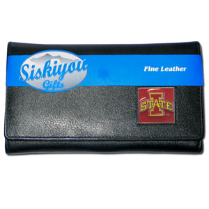 College Ladies Wallet - Iowa St Cyclones - This Iowa St. Cyclones genuine leather women's pocketbook features 9 credit card slots, a windowed ID slot, spacious front pocket, inner pocket and zippered coin pocket. The front of the pocketbook has a hand painted metal square with the team's primary logo.  Thank you for shopping with CrazedOutSports.com