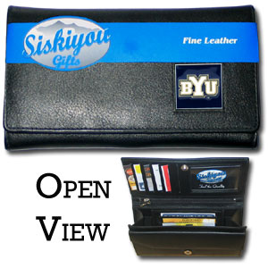 College Ladies Wallet - BYU Cougars - This genuine leather women's pocketbook features 9 credit card slots, a windowed ID slot, spacious front pocket, inner pocket and zippered coin pocket. The front of the pocketbook has a hand painted metal square with the BYU Cougars team's primary logo.  Thank you for shopping with CrazedOutSports.com