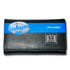 College Ladies Wallet - Hawaii Rainbow Warriors - This genuine Hawaii Rainbow Warriors leather women's pocketbook features 9 credit card slots, a windowed ID slot, spacious front pocket, inner pocket and zippered coin pocket. The front of the pocketbook has a hand painted metal square with the Hawaii Rainbow Warriors primary logo.  Thank you for shopping with CrazedOutSports.com