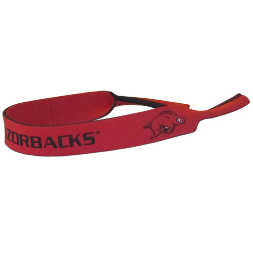 "Arkansas Razorbacks Neoprene Sunglass Strap - Our Arkansas Razorbacks collegiate neoprene sunglass straps are 16"" long and the stretchable tubes fit easily over thin and wide style sunglasses. Thank you for shopping with CrazedOutSports.com"