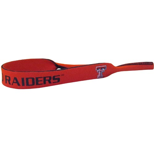 "Texas Tech Raiders Neoprene Sunglass Strap - Our collegiate neoprene sunglass straps are 16"" long and the stretchable tubes fit easily over thin and wide style sunglasses. Thank you for shopping with CrazedOutSports.com"