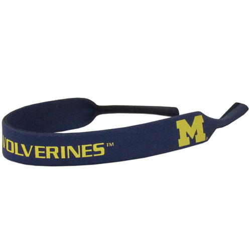 "Michigan Wolverines Neoprene Sunglass Strap - This collegiate Michigan Wolverines Neoprene Sunglass Strap is 16"" long and the stretchable tubes fit easily over thin and wide style sunglasses. Thank you for shopping with CrazedOutSports.com"