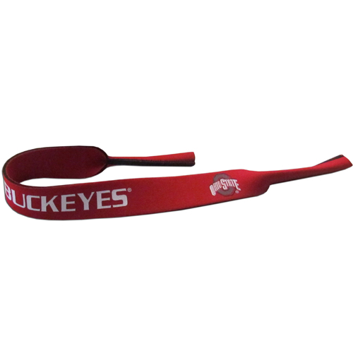 "Ohio St. Buckeyes Neoprene Sunglass Strap - Our collegiate neoprene sunglass straps are 16"" long and the stretchable tubes fit easily over thin and wide style sunglasses. Thank you for shopping with CrazedOutSports.com"
