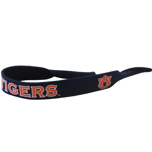 "Auburn Tigers Neoprene Sunglass Strap - Our Auburn Tigers collegiate neoprene sunglass straps are 16"" long and the stretchable tubes fit easily over thin and wide style sunglasses. Thank you for shopping with CrazedOutSports.com"