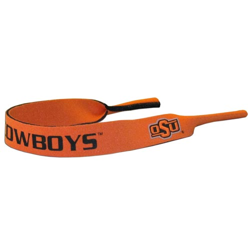 "Oklahoma St. Cowboys Neoprene Sunglass Strap - Our collegiate neoprene sunglass straps are 16"" long and the stretchable tubes fit easily over thin and wide style sunglasses. Thank you for shopping with CrazedOutSports.com"