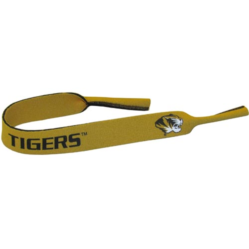 "Missouri Tigers Neoprene Sunglass Strap - Our collegiate neoprene sunglass straps are 16"" long and the stretchable tubes fit easily over thin and wide style sunglasses. Thank you for shopping with CrazedOutSports.com"