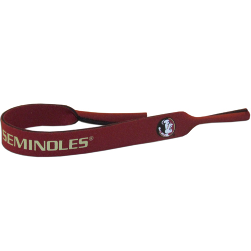 "Florida St. Seminoles Neoprene Sunglass Strap - Our Florida State Seminoles collegiate neoprene sunglass straps are 16"" long and the stretchable tubes fit easily over thin and wide style sunglasses. Thank you for shopping with CrazedOutSports.com"
