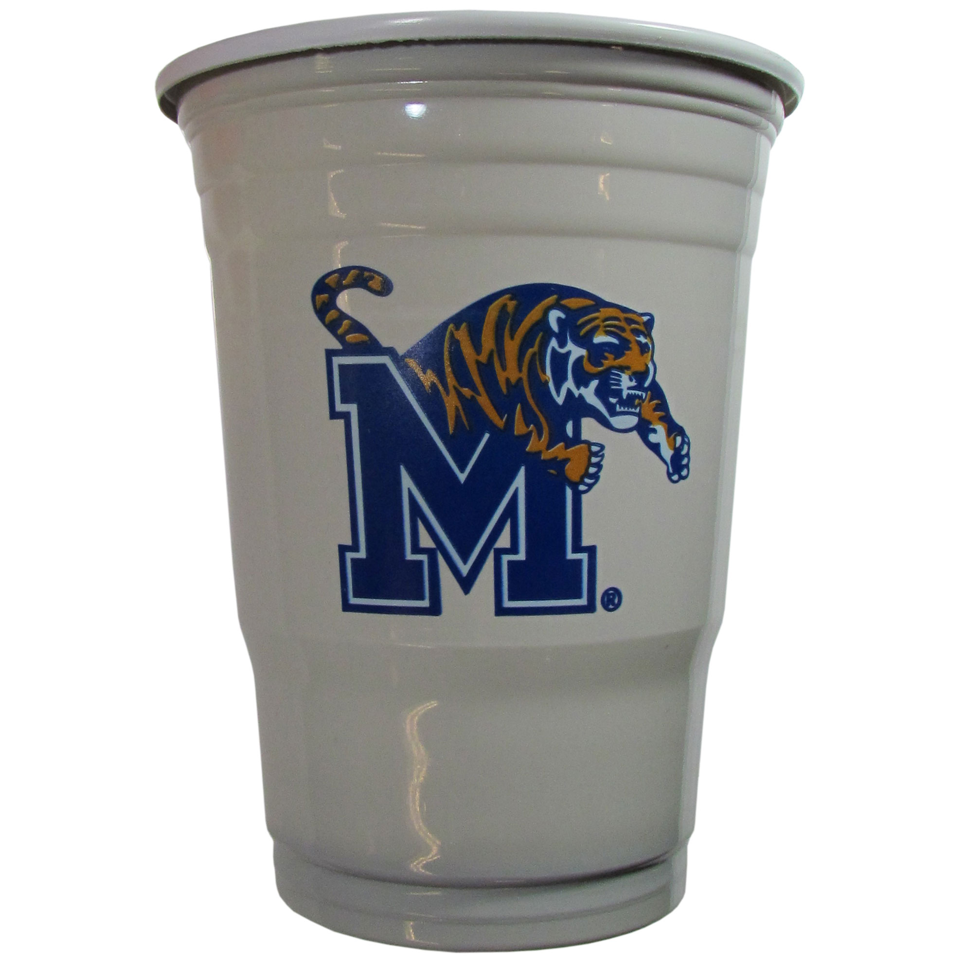 Memphis Tigers Plastic Game Day Cups - Our 18 ounce game day cups are what every tailgating or backyard events needs! The cups feature a big Memphis Tigers logo so you can show off your team pride. The popular 18 ounce size is perfect for drinks or ping pong balls! Sold in sleeves of 18 cups.