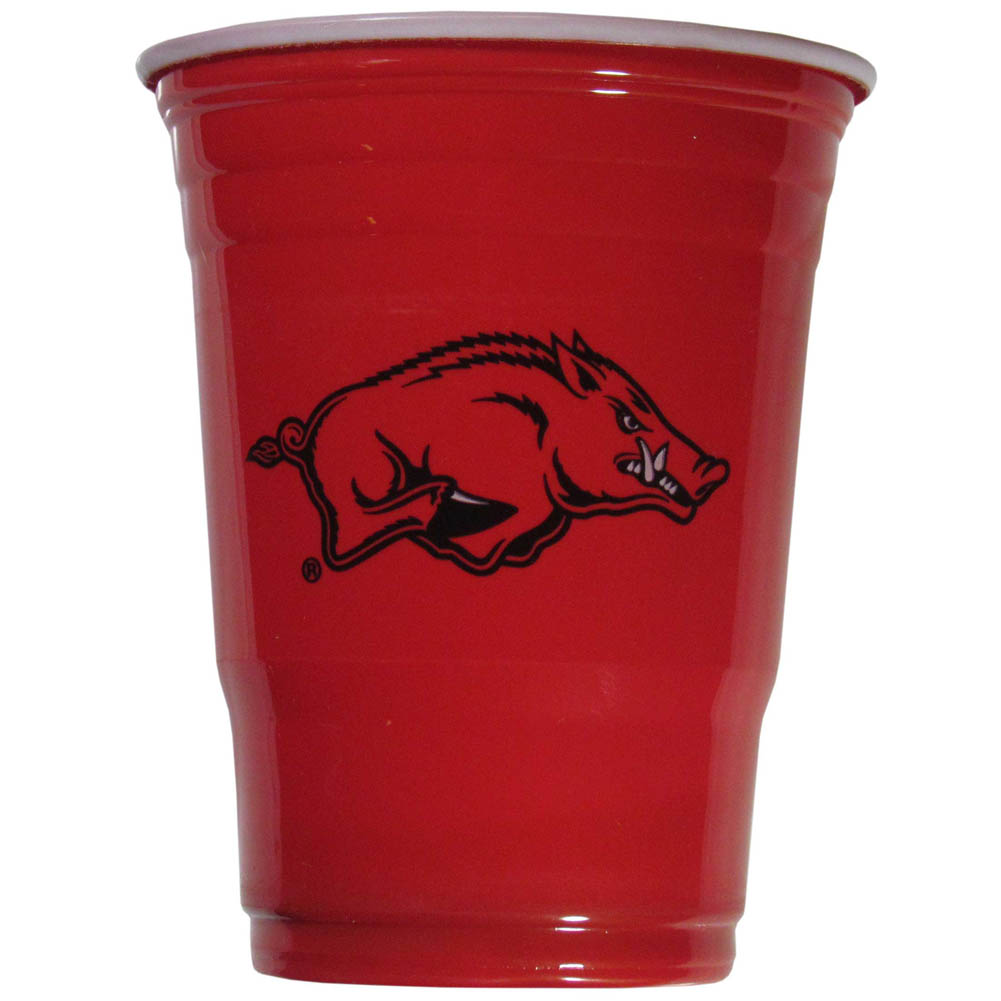 Arkansas Razorbacks Plastic Game Day Cups 2 sleeves of 18 (36 Cups) - Our 18 ounce game day cups are what every tailgating or backyard events needs! The cups feature a big Arkansas Razorbacks logo so you can show off your team pride. The popular 18 ounce size is perfect for drinks or ping pong balls! 2 sleeves of 18 cups, 36 cups in total.