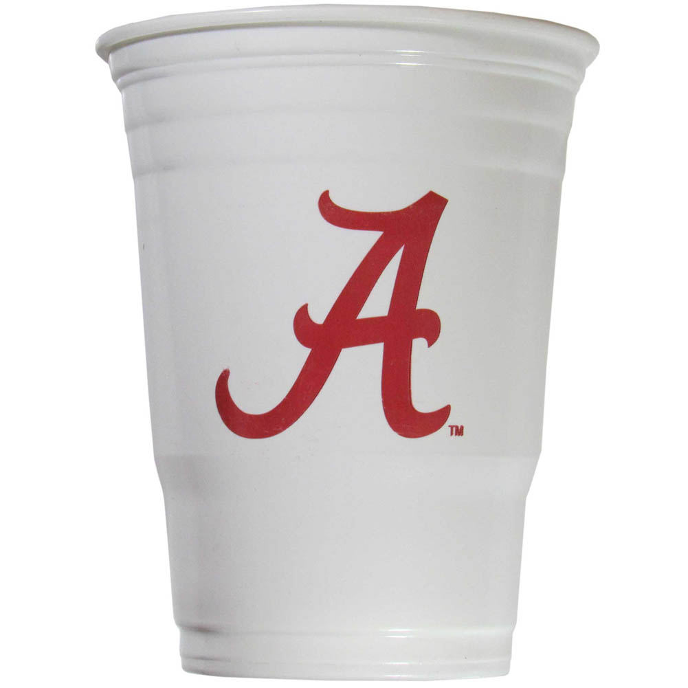 Alabama Crimson Tide Plastic Game Day Cups 2 sleeves of 18 (36 Cups) - Our 18 ounce game day cups are what every tailgating or backyard events needs! The cups feature a big Alabama Crimson Tide logo so you can show off your team pride. The popular 18 ounce size is perfect for drinks or ping pong balls! 2 sleeves of 18 cups, 36 cups in total.