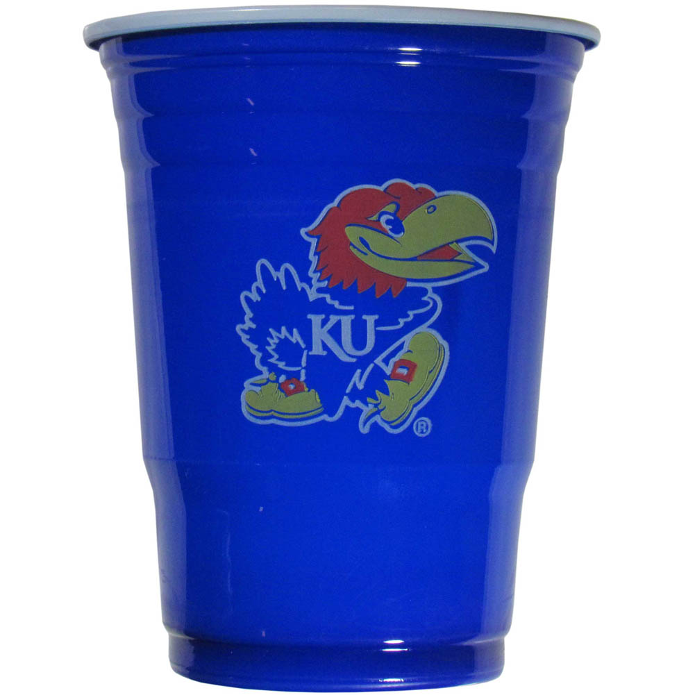 Kansas Jayhawks Plastic Game Day Cups 2 sleeves of 18 (36 Cups) - Our 18 ounce game day cups are what every tailgating or backyard events needs! The cups feature a big Kansas Jayhawks logo so you can show off your team pride. The popular 18 ounce size is perfect for drinks or ping pong balls! 2 sleeves of 18 cups, 36 cups in total.