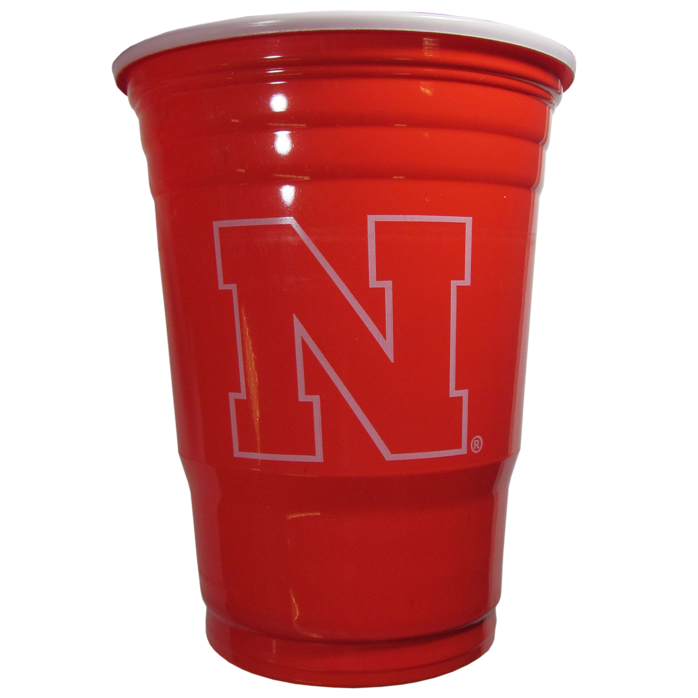 Nebraska Cornhuskers Plastic Game Day Cups - Our 18 ounce game day cups are what every tailgating or backyard events needs! The cups feature a big Nebraska Cornhuskers logo so you can show off your team pride. The popular 18 ounce size is perfect for drinks or ping pong balls! Sold in sleeves of 18 cups.