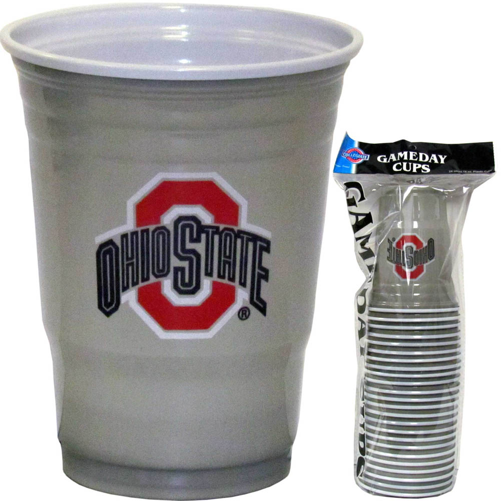 Ohio St. Buckeyes Plastic Game Day Cups - Our 18 ounce game day cups are what every tailgating or backyard events needs! The cups feature a big Ohio St. Buckeyes logo so you can show off your team pride. The popular 18 ounce size is perfect for drinks or ping pong balls! Sold in sleeves of 18 cups.