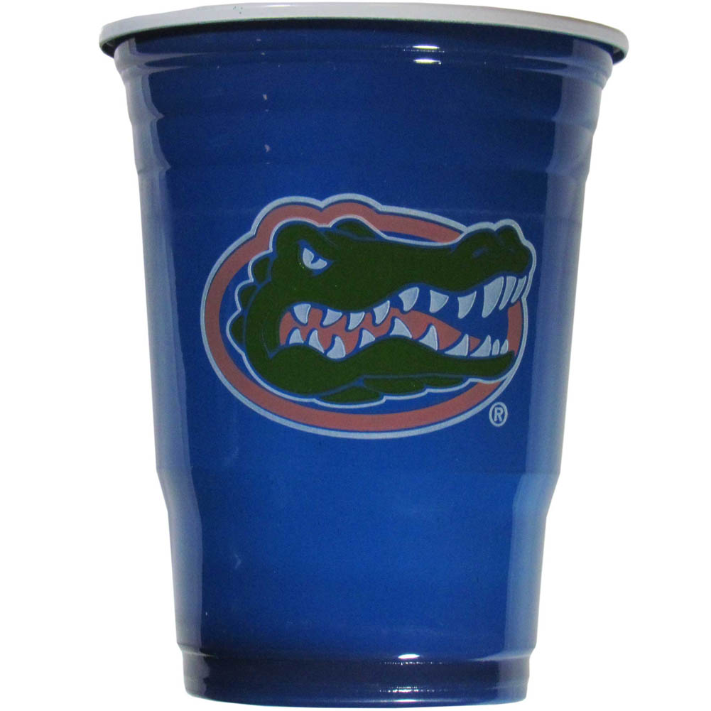 Florida Gators Plastic Game Day Cups 2 sleeves of 18 (36 Cups) - Our 18 ounce game day cups are what every tailgating or backyard events needs! The cups feature a big Florida Gators logo so you can show off your team pride. The popular 18 ounce size is perfect for drinks or ping pong balls! 2 sleeves of 18 cups, 36 cups in total.