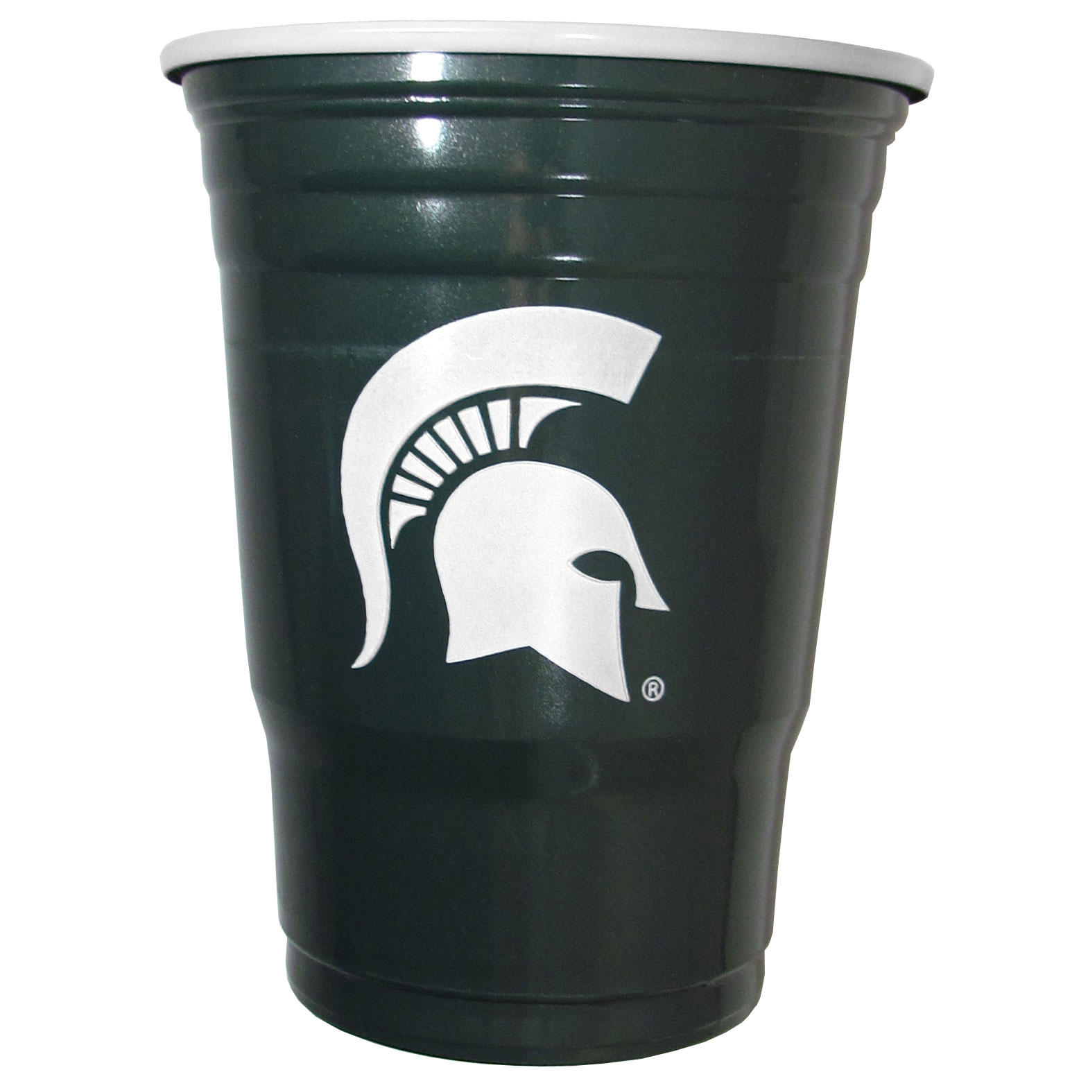 Michigan St. Spartans Plastic Game Day Cups - Our 18 ounce game day cups are what every tailgating or backyard events needs! The cups feature a big Michigan St. Spartans logo so you can show off your team pride. The popular 18 ounce size is perfect for drinks or ping pong balls! Sold in sleeves of 18 cups.