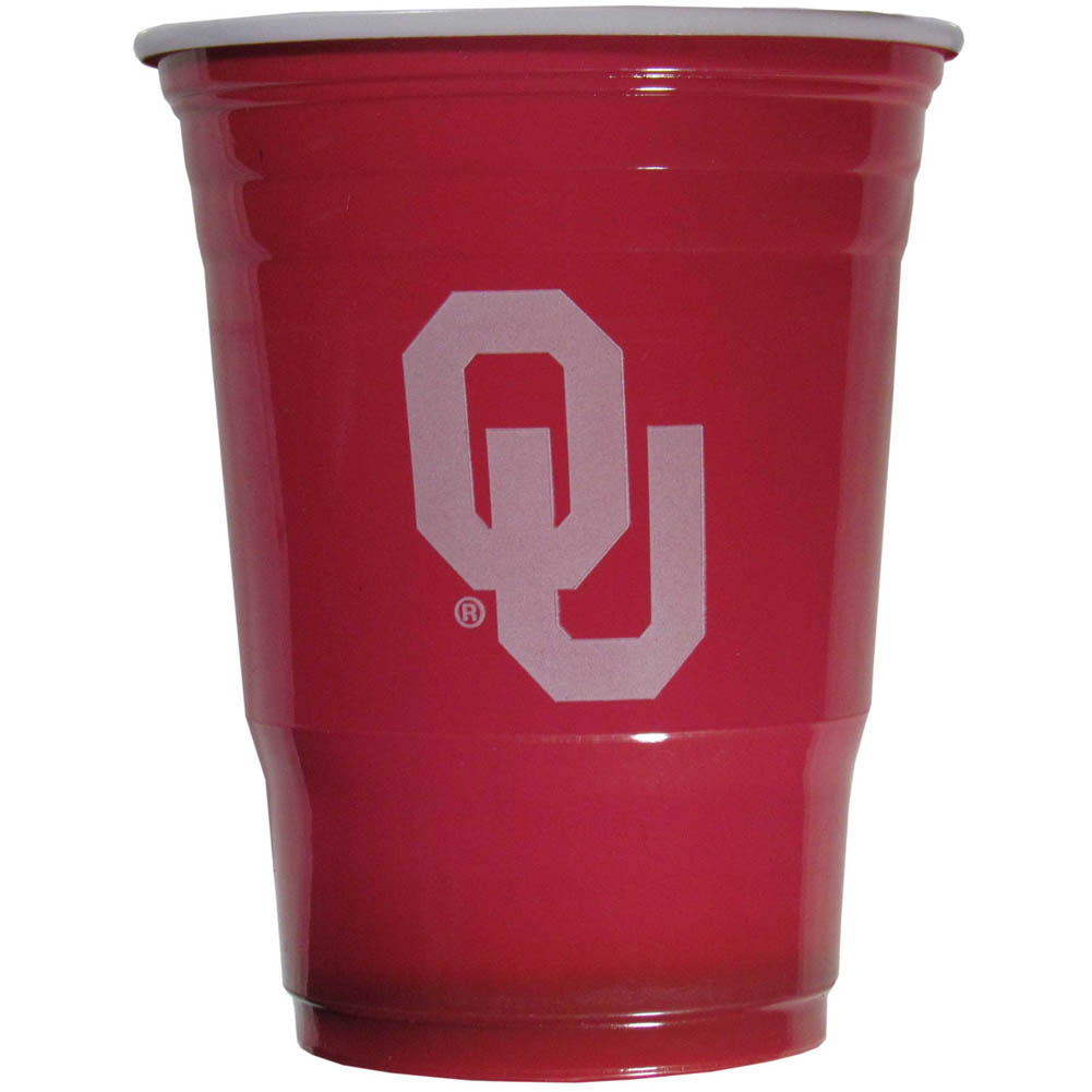 Oklahoma Sooners Plastic Game Day Cups 2 sleeves of 18 (36 Cups) - Our 18 ounce game day cups are what every tailgating or backyard events needs! The cups feature a big Oklahoma Sooners logo so you can show off your team pride. The popular 18 ounce size is perfect for drinks or ping pong balls! 2 sleeves of 18 cups, 36 cups in total.