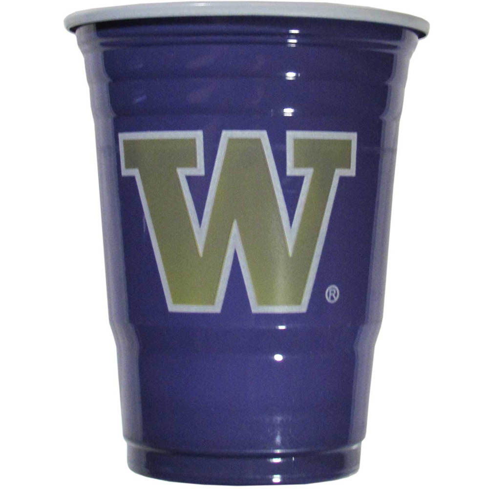 Washington Huskies Plastic Game Day Cups 2 sleeves of 18 (36 Cups) - Our 18 ounce game day cups are what every tailgating or backyard events needs! The cups feature a big Washington Huskies logo so you can show off your team pride. The popular 18 ounce size is perfect for drinks or ping pong balls! 2 sleeves of 18 cups, 36 cups in total.