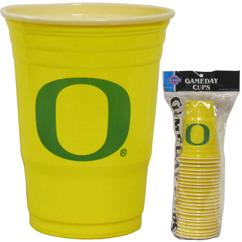 Oregon Ducks Plastic Game Day Cups - Our 18 ounce game day cups are what every tailgating or backyard events needs! The cups feature a big Oregon Ducks logo so you can show off your team pride. The popular 18 ounce size is perfect for drinks or ping pong balls! Sold in sleeves of 18 cups.