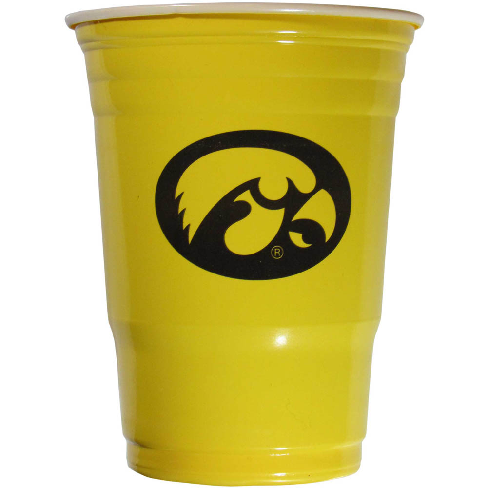 Iowa Hawkeyes Plastic Game Day Cups 2 sleeves of 18 (36 Cups) - Our 18 ounce game day cups are what every tailgating or backyard events needs! The cups feature a big Iowa Hawkeyes logo so you can show off your team pride. The popular 18 ounce size is perfect for drinks or ping pong balls! 2 sleeves of 18 cups, 36 cups in total.