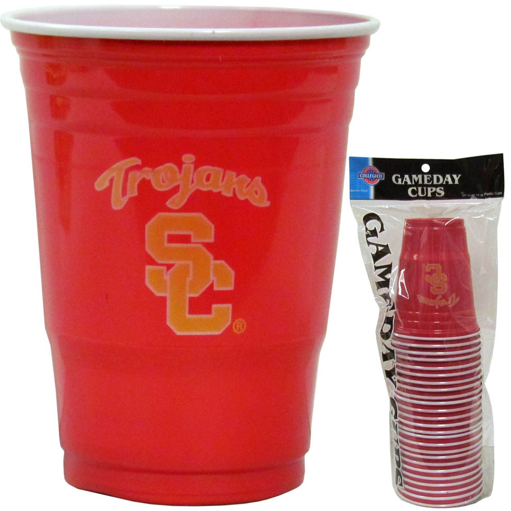 USC Trojans Plastic Game Day Cups - Our 18 ounce game day cups are what every tailgating or backyard events needs! The cups feature a big USC Trojans logo so you can show off your team pride. The popular 18 ounce size is perfect for drinks or ping pong balls! Sold in sleeves of 18 cups.