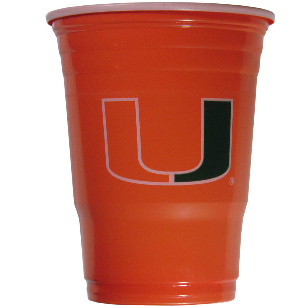 Miami Hurricanes Plastic Game Day Cups 2 sleeves of 18 (36 Cups) - Our 18 ounce game day cups are what every tailgating or backyard events needs! The cups feature a big Miami Hurricanes logo so you can show off your team pride. The popular 18 ounce size is perfect for drinks or ping pong balls! 2 sleeves of 18 cups, 36 cups in total.