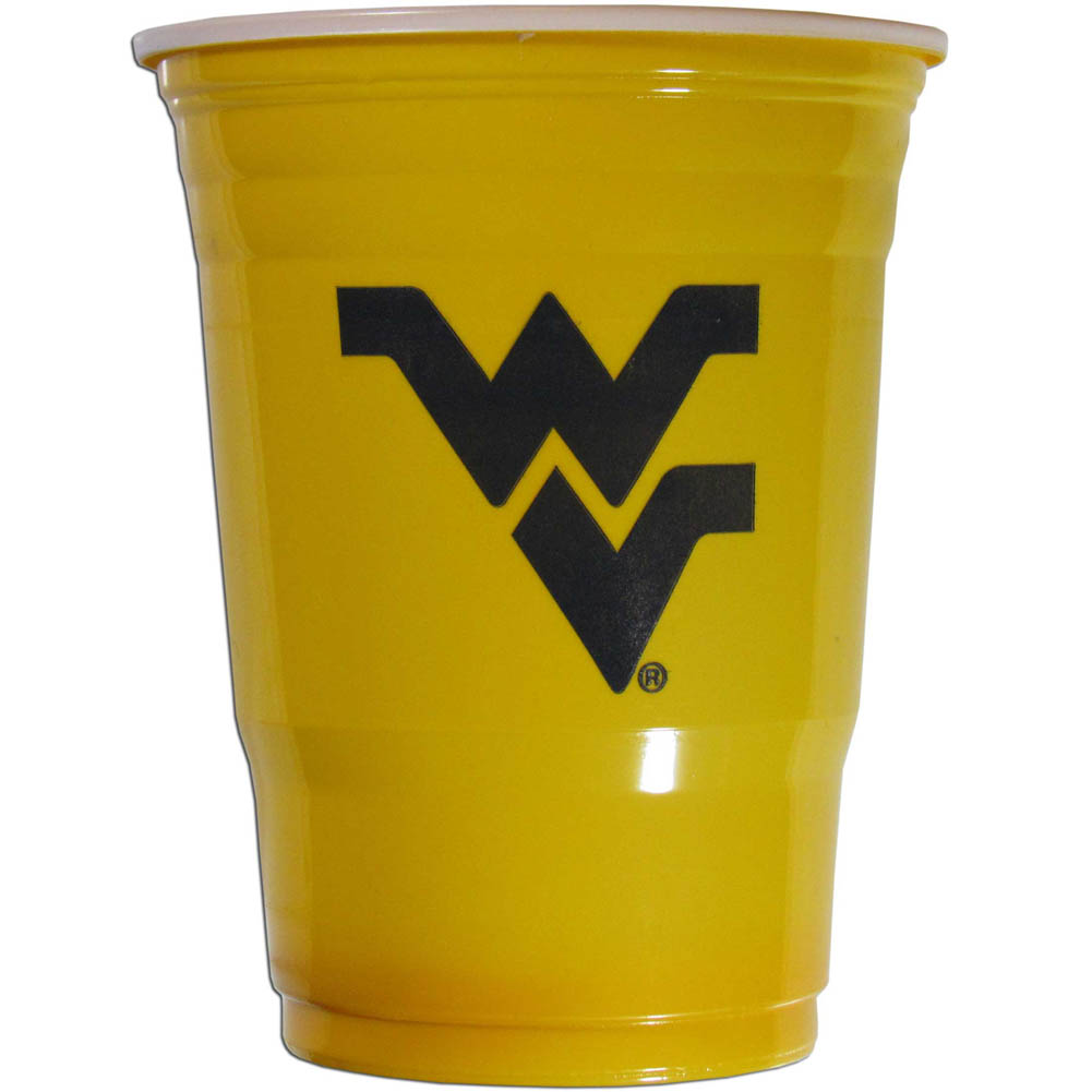 W. Virginia Mountaineers Plastic Game Day Cups 2 sleeves of 18 (36 Cups) - Our 18 ounce game day cups are what every tailgating or backyard events needs! The cups feature a big W. Virginia Mountaineers logo so you can show off your team pride. The popular 18 ounce size is perfect for drinks or ping pong balls! 2 sleeves of 18 cups, 36 cups in total.