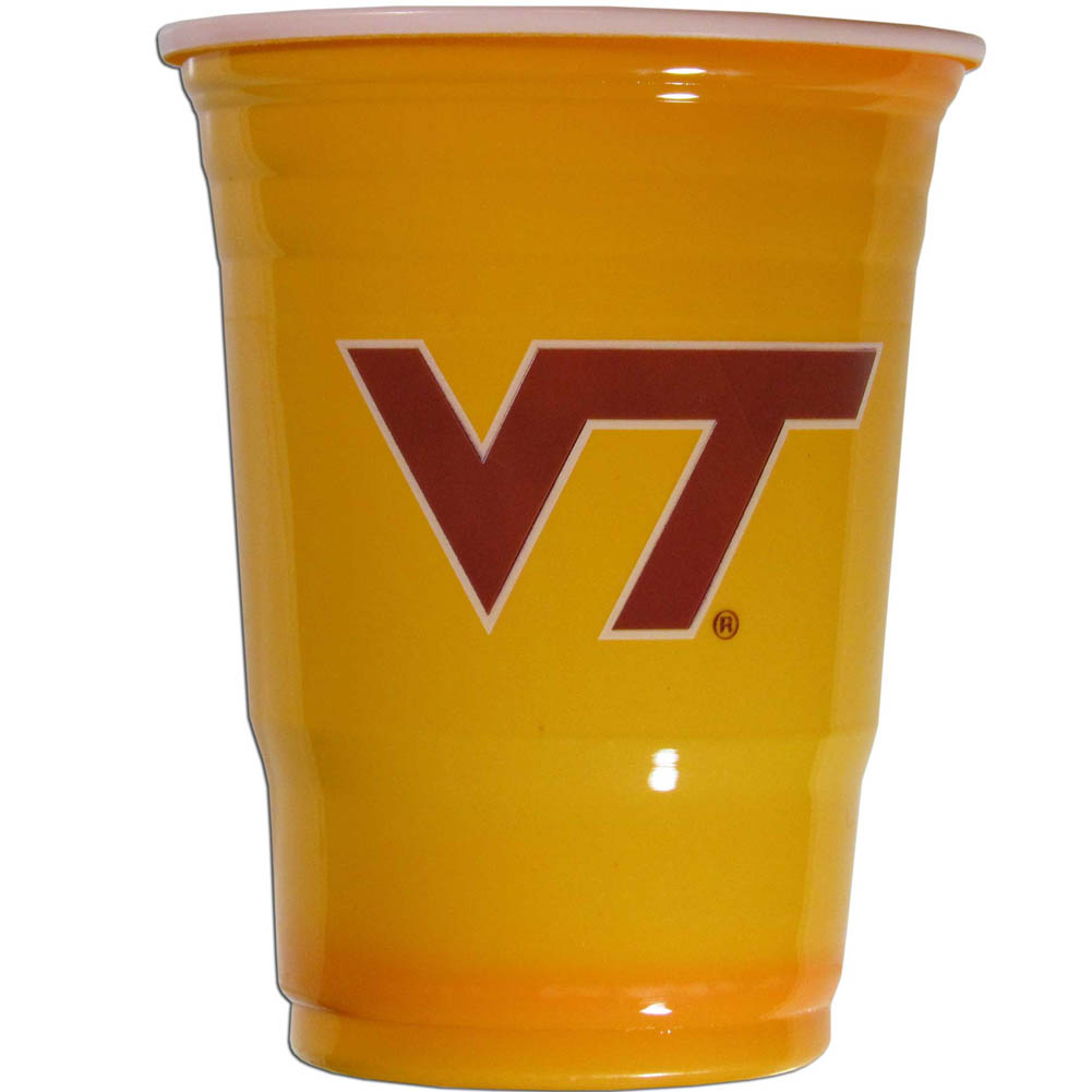 Virginia Tech Hokies Plastic Game Day Cups - Our 18 ounce game day cups are what every tailgating or backyard events needs! The cups feature a big Virginia Tech Hokies logo so you can show off your team pride. The popular 18 ounce size is perfect for drinks or ping pong balls! Sold in sleeves of 18 cups.